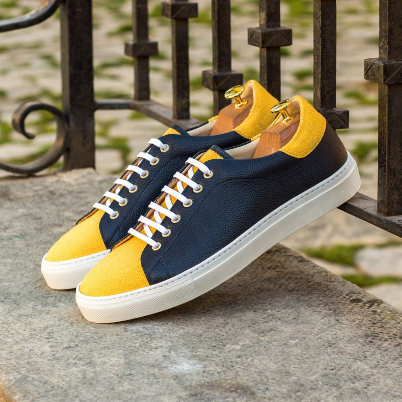 Custom Made Trainers in Navy Blue Painted Full Grain Leather with Mustard Linen