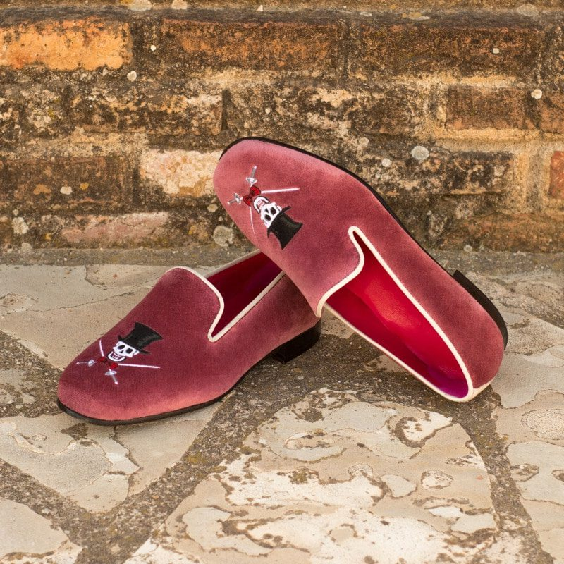 Custom Made Wellington Slippers in Makeup Velvet with Plain Crust Calf, Featuring a Skull and Crossbones Embroidery