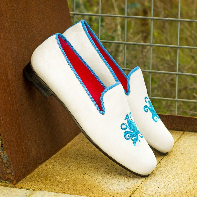 Custom Made Wellington Slippers in White Suede with Medium Blue Grossgrain