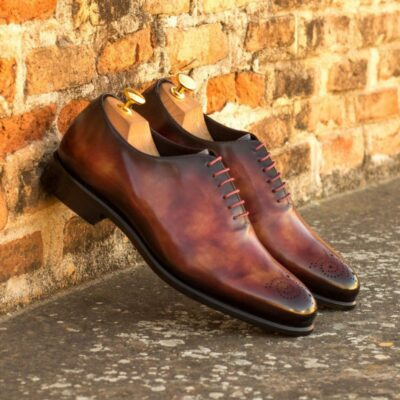 Custom Made Whole Cut Dress Shoes in Raw Crust Italian Leather with a Fire Museum Hand Patina Finish