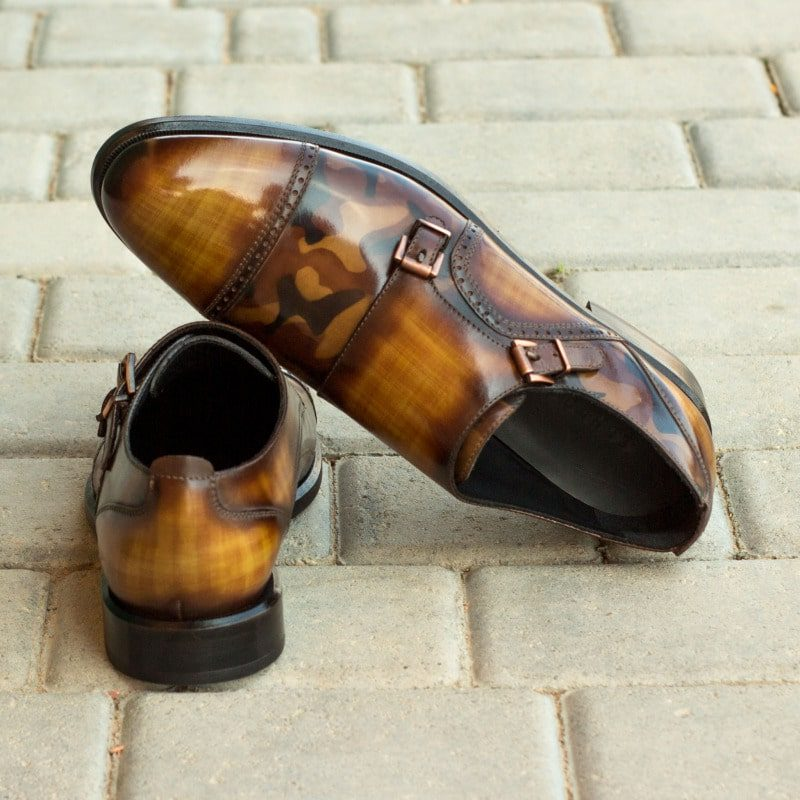 Custom Made Women's Double Monks in Italian Raw Crust Leather with a Cognac and Brown Camo Hand Patina
