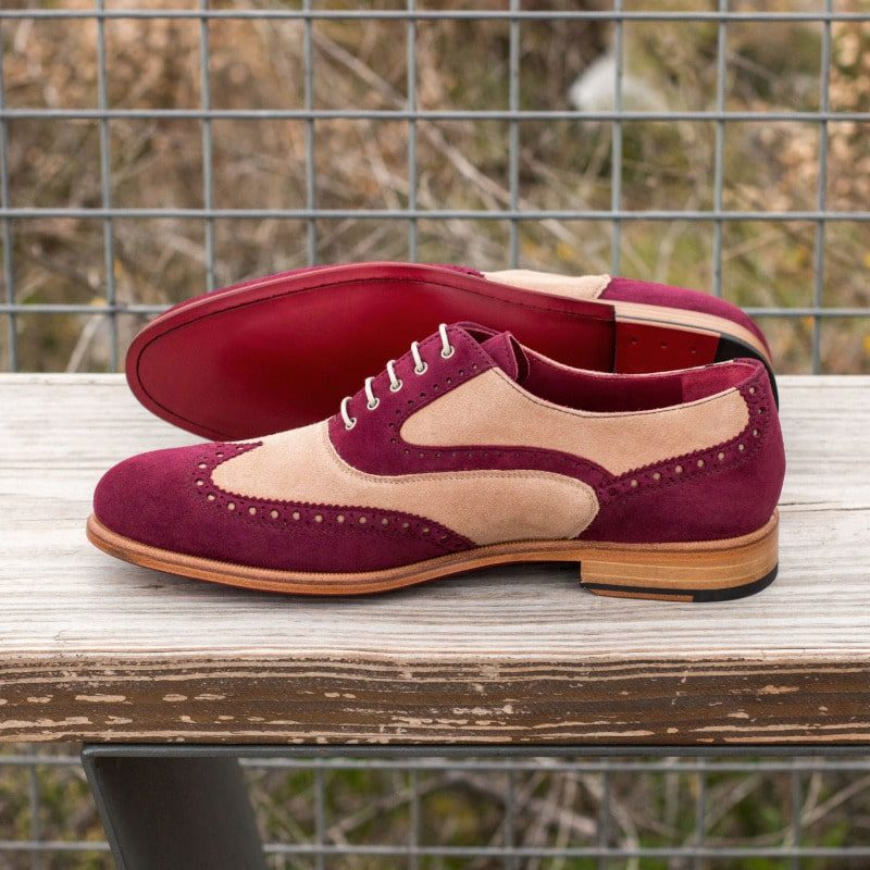 Custom Made Women's Full Brogues in Wine and Taupe Kid Suede