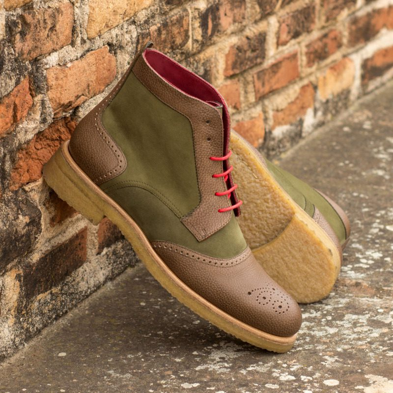 Custom Made Women's Lace Up Brogue Boots in Khaki Kid Suede and Olive Painted Full Grain Leather