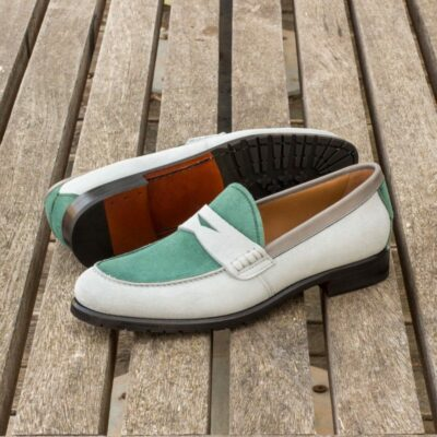 Custom Made Women's Loafers in Light Grey and Forest Green Kid Suede with Grey Painted Calf