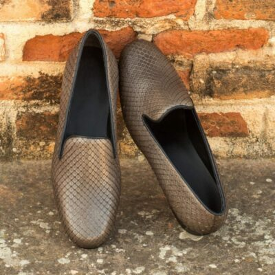 Custom Made Audrey Slipper in Grey Genuine Python
