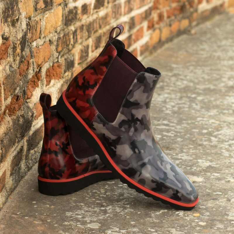 Custom Made Chelsea Boot Classic in Italian Raw Crust Leather with a Grey and Byrgundy Camo Hand Patina Finish