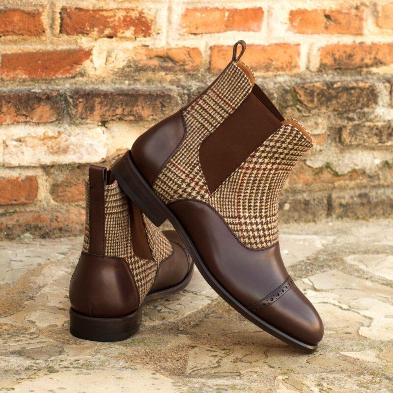 Custom Made Chelsea Boot Multi in Dark Brown Box Calf with Tweed