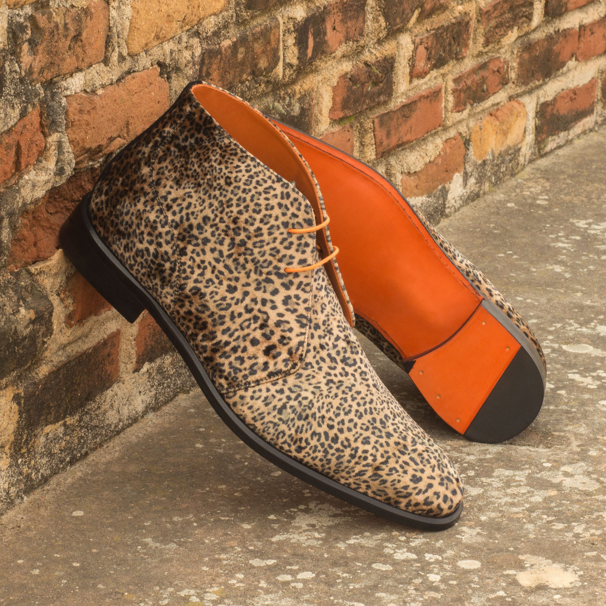 Custom Made Chukka Boot in Leopard Print with Black Kid Suede