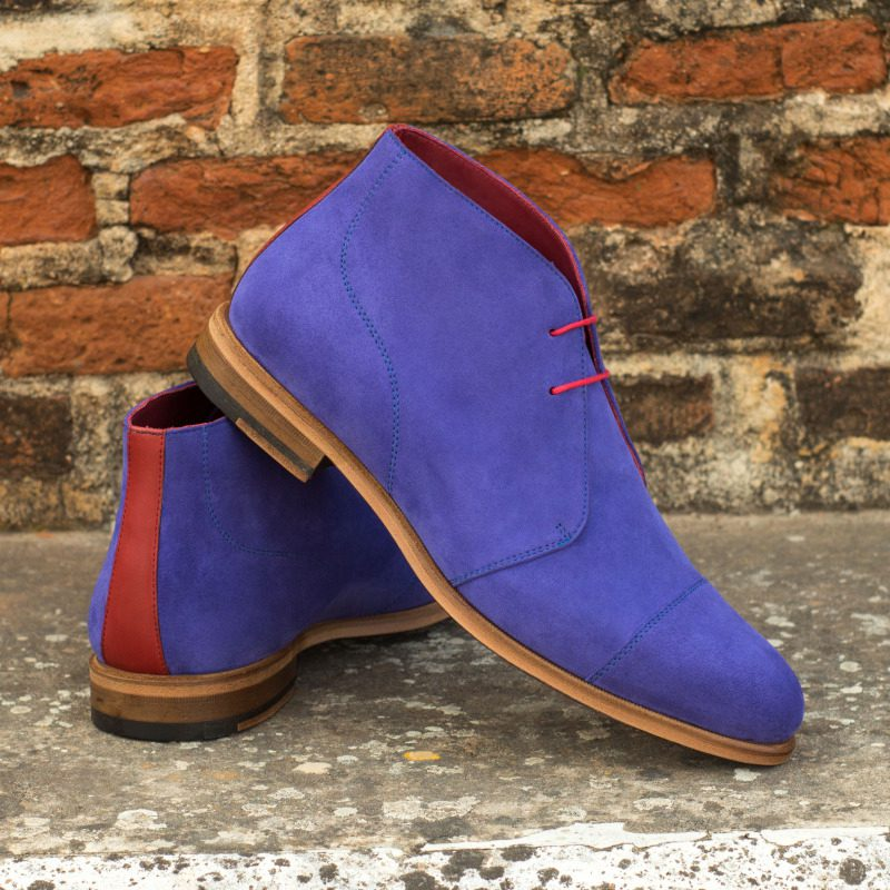 Custom Made Chukka Boot in Purple Kid Suede with Red Painted Calf