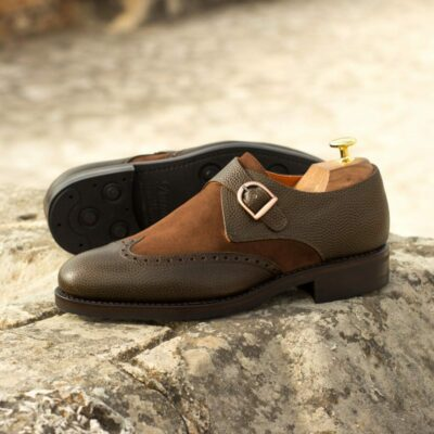 Custom Made Goodyear Welt Single Monks in Olive Pebble Grain Leather and Medium Brown Luxe Suede