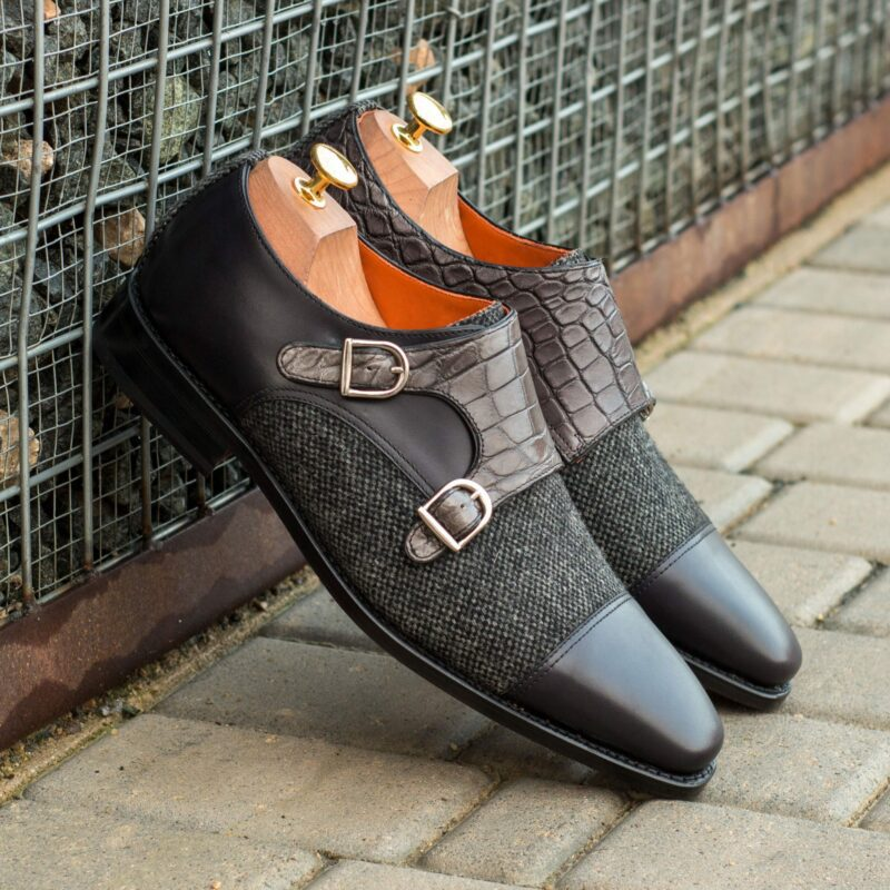 Custom Made Goodyear Welted Double Monks in Black Painted Calf with Nailhead and Black Genuine Alligator