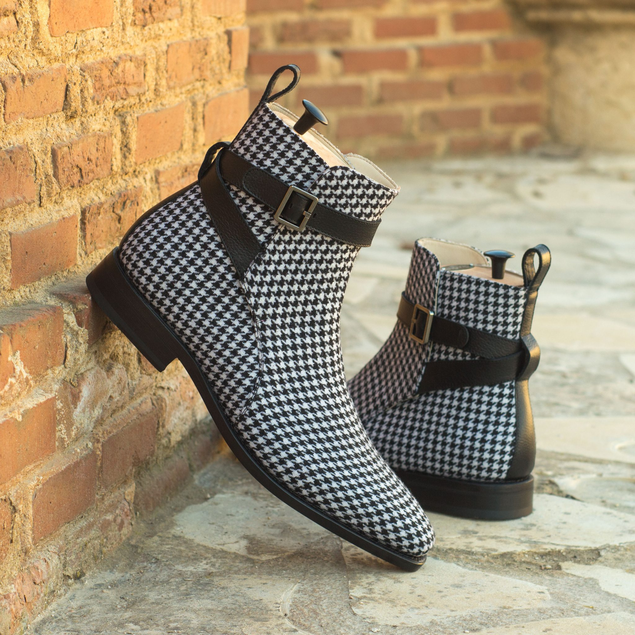 Custom Made Goodyear Welted Jodhpur Boot in Houndstooth with Black Painted Full Grain Leather