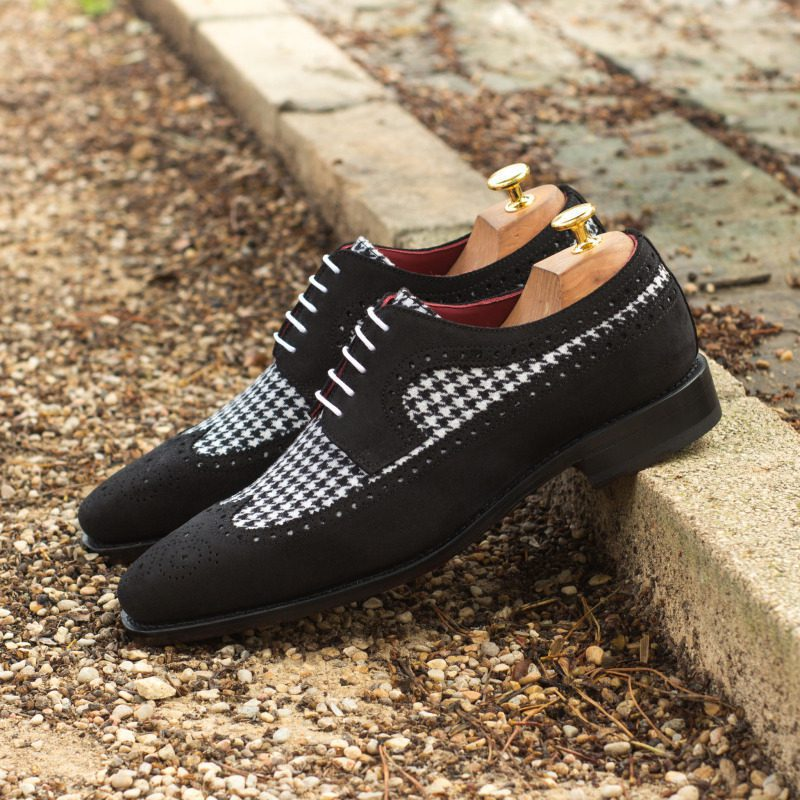 Custom Made Goodyear Welted Long Wingtip Blucher in Black Luxe Suede with Houndstooth
