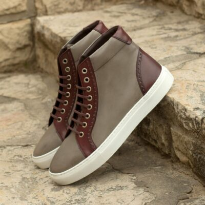 Custom Made High Kicks in Grey and Burgundy Painted Calf