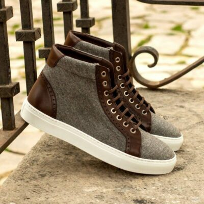 Custom Made High Kicks in Light Grey Flannel and Dark Brown Painted Calf Leather