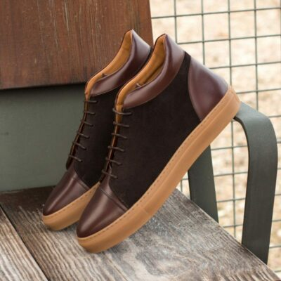 Custom Made High Top in Dark Brown Luxe Suede with Dark Brown Box Calf