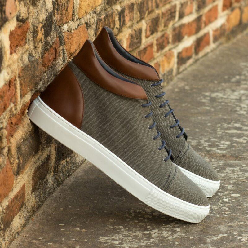 Custom Made High Top in Grey Linen with Medium Brown Polished Calf Leather