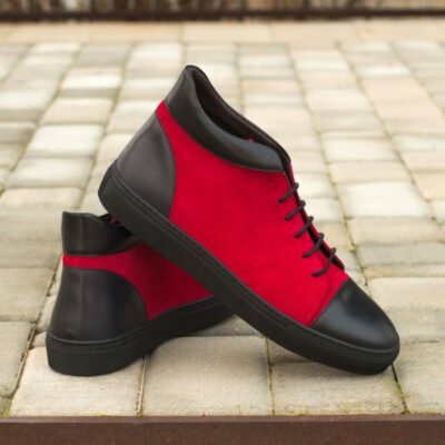 Custom Made High Top in Red Kid Suede with Black Painted Calf Leather