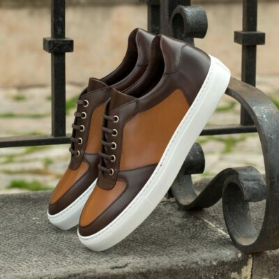 Custom Made Low Top Trainers in Cognac and Dark Brown Painted Calf Leather