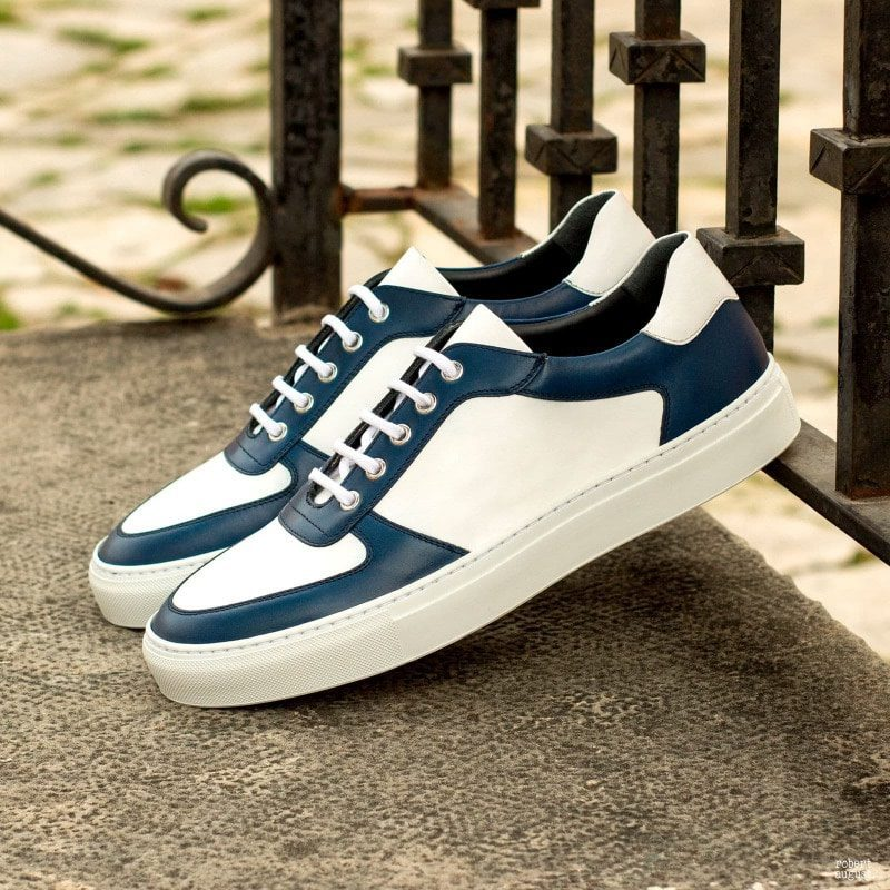 Custom Made Low Top Trainers in White and Navy Blue Box Calf