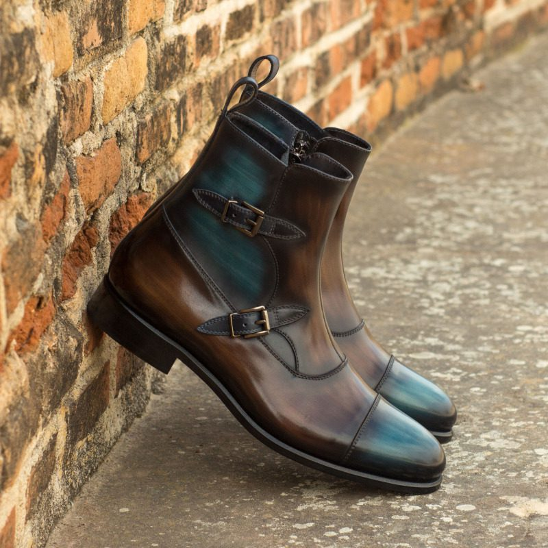 Custom Made Octavian Boot in Italian Raw Crust Leather with a Denim Blue and Brown Hand Patina Finish