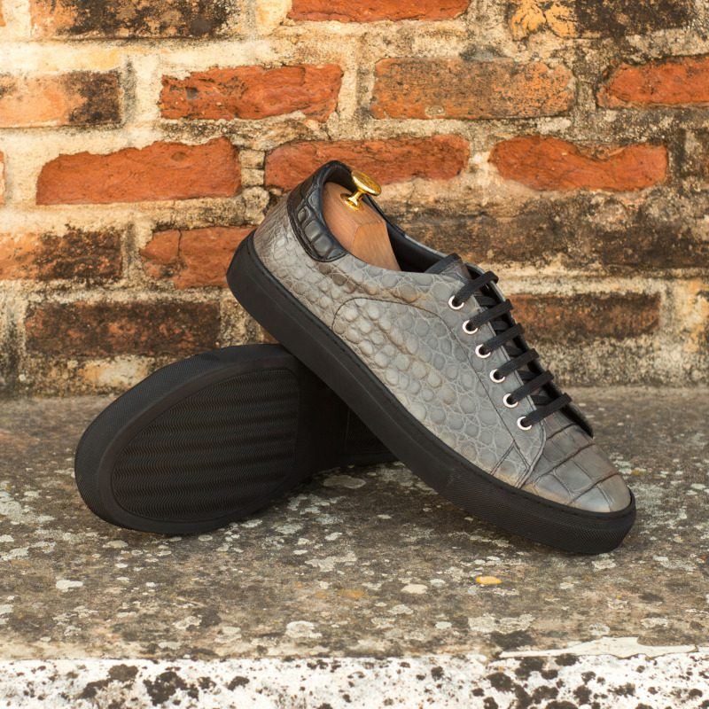 Custom Made Trainers in Grey and Black Genuine Alligator with Black Polished Calf