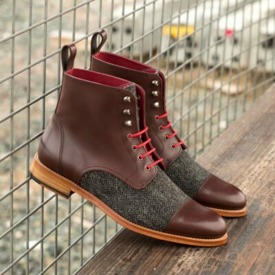 Custom Made Women's Lace Up Captoe Boot in Dark Brown Box Calf and Herringbone