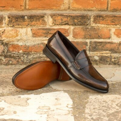 Custom Made Women's Loafers in Italian Raw Crust Leather with a Brown Marbled Patina
