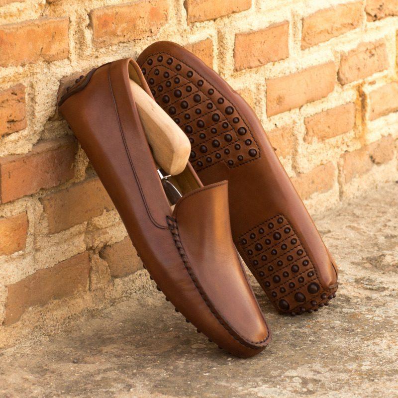 Custom Driver in Medium Brown Painted Calf Leather