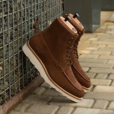 Custom Goodyear Welt Moc Boot in Medium Brown Luxe Suede with Medium Brown Box Calf