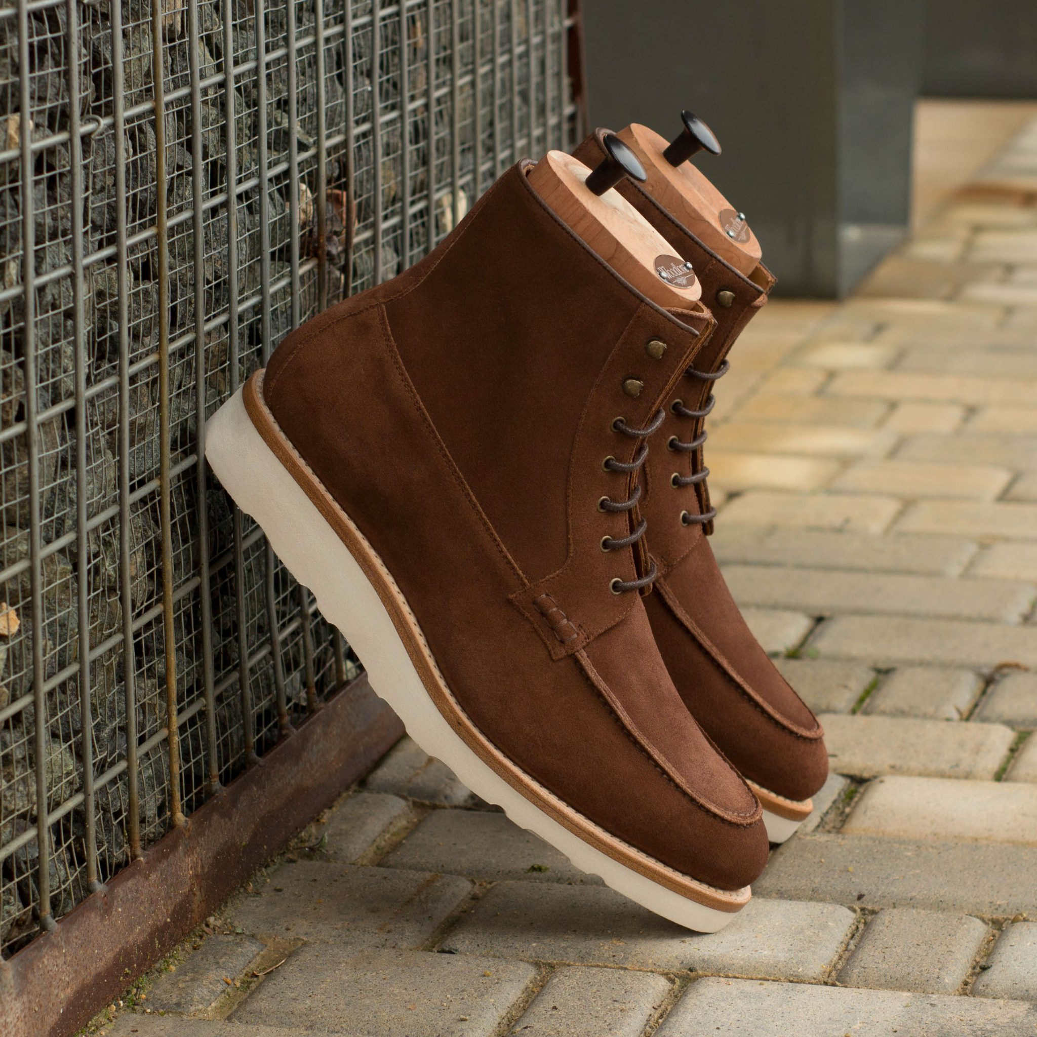 Custom Goodyear Welt Moc Boot in Medium Brown Luxe Suede with Medium Brown Box Calf
