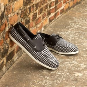 Custom Made Boat Shoe in Houndstooth and Black Painted Calf Leather