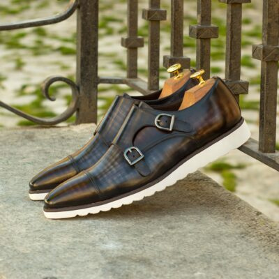 Custom Made Double Monks in Italian Raw Crust Leather with a Grey and Brown Papiro Hand Patina and Tweed