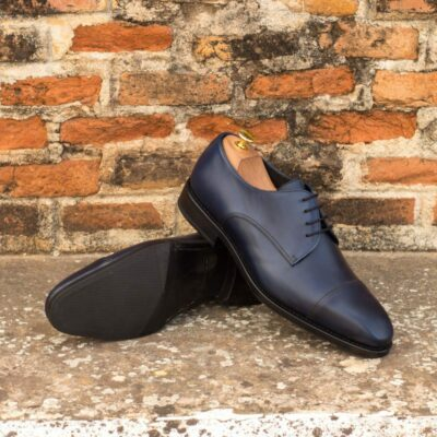 Custom Made Goodyear Welt Derby in Navy Blue Painted Calf Leather