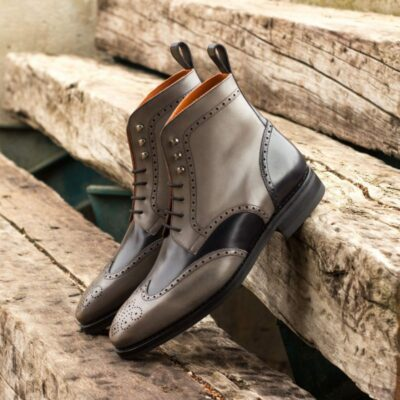 Custom Made Goodyear Welt Military Brogue Boot in Grey and Black Painted Calf Leather