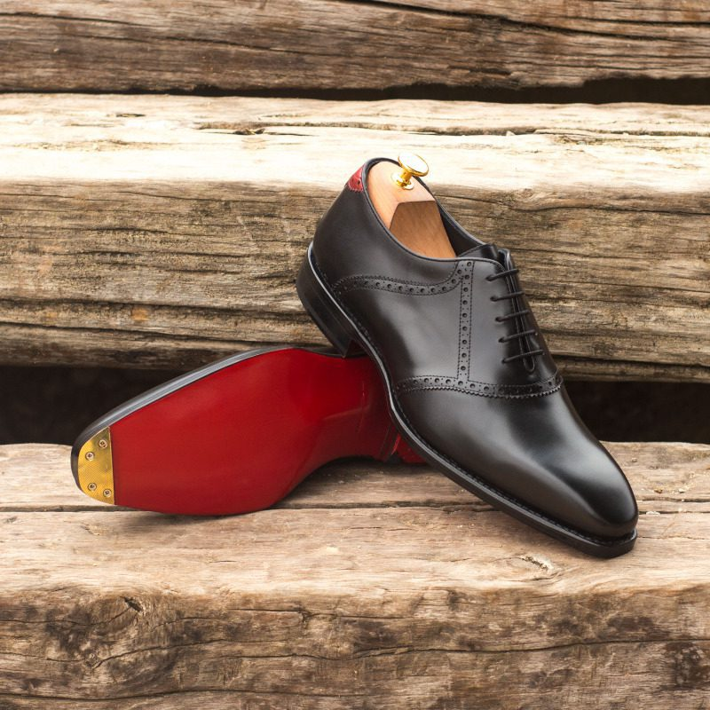 Custom Made Goodyear Welt Saddle Shoes in Black Box Calf and Red Painted Calf with Metal Toe Tap