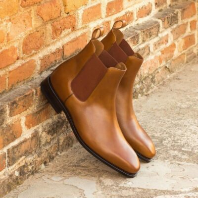 Custom Made Goodyear Welted Chelsea Boot Classic in Cognac Box Calf Leather