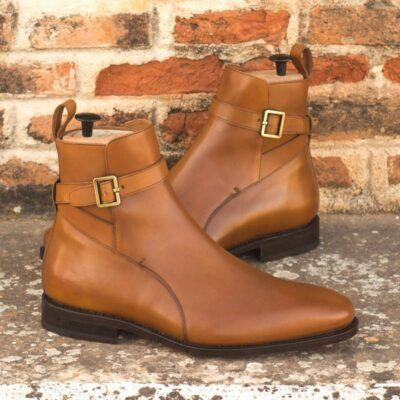 Custom Made Goodyear Welted Jodhpur Boot in Cognac Box Calf Leather