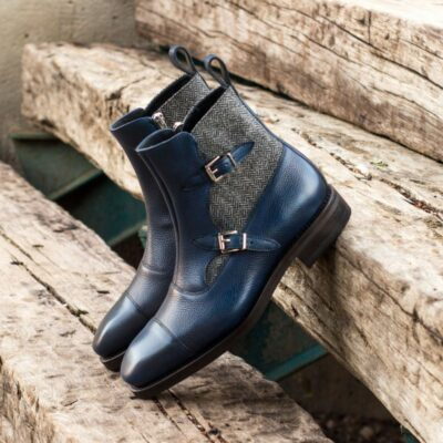 Custom Made Goodyear Welted Octavian Boot in Navy Blue Painted Full Grain Leather with Herringbone