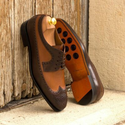 Custom Made Men's Goodyear Welt Longwing Blucher in Dark Brown and Medium Brown Painted Calf Leather