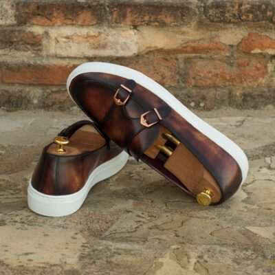 Custom Made Monk Sneakers in Italian Raw Crust Leather with a Fire Museum Hand Patina