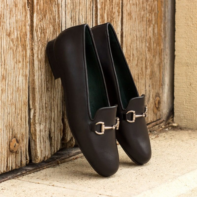 Custom Made Rose Slipper in Black Painted Calf Leather