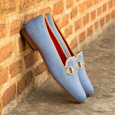 Custom Made Rose Slipper in Blue Linen with Gold Grossgrain