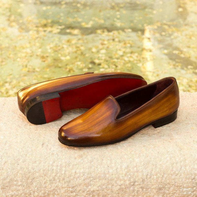 Custom Made Rose Slipper in Italian Raw Crust Leather with a Cognac Hand Patina