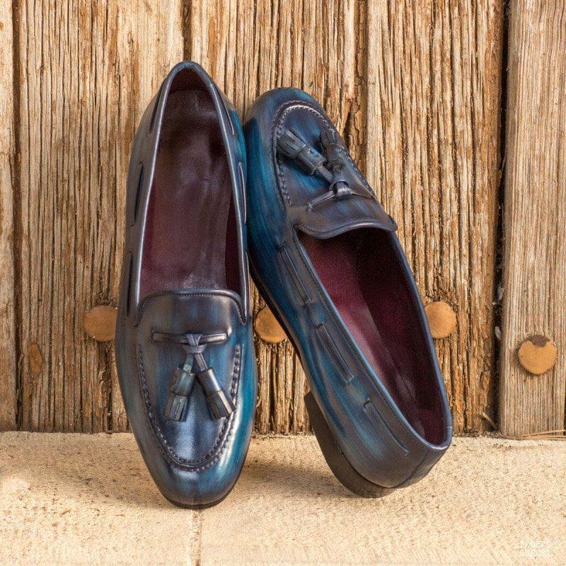 Custom Made Rose Slipper in Italian Raw Crust Leather with a Denim Blue Hand Patina