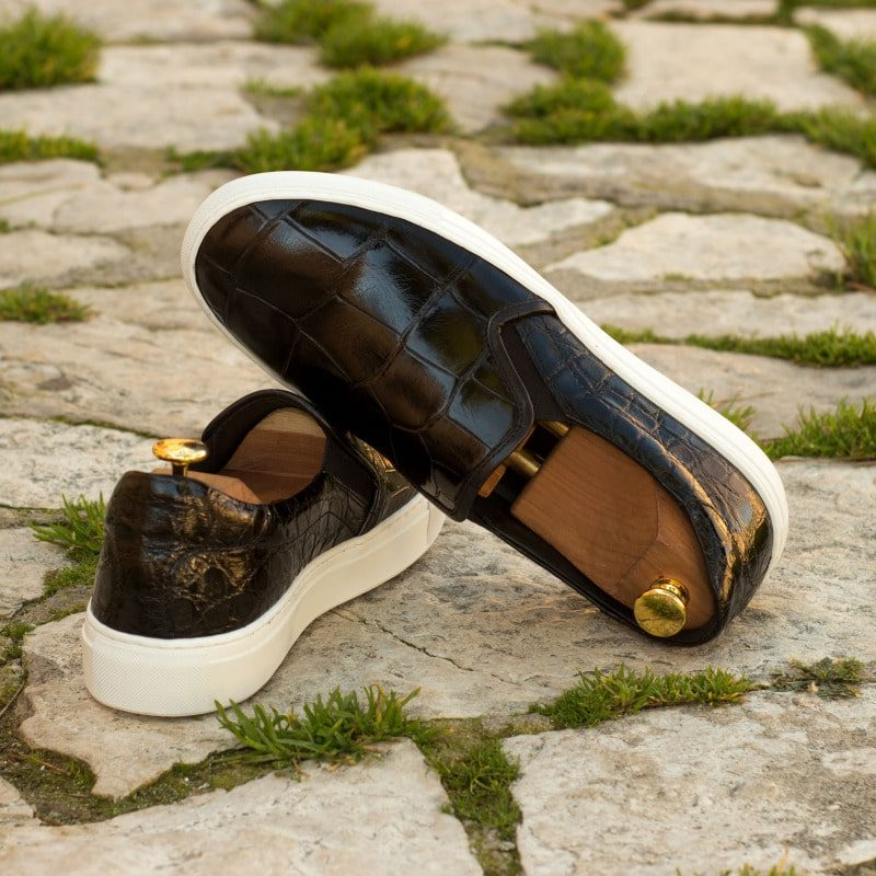 Custom Made Slip On in Black Genuine Alligator with Black Painted Calf Leather
