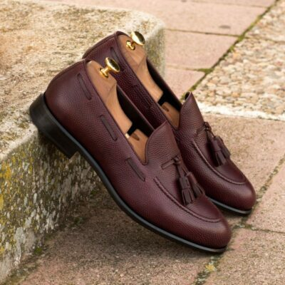 Custom Made Tassel Loafers in Burgundy Pebble Grain Leather