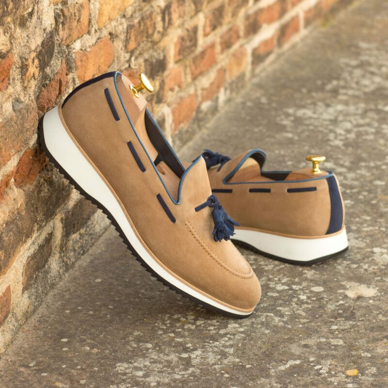 Custom Made Tassel Loafers in Camel and Navy Blue Kid Suede