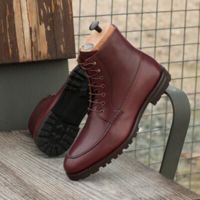 Custom Moc Boot in Burgundy Box Calf
