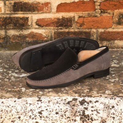 Custom Moccasin Loafer in Black and Grey Suede